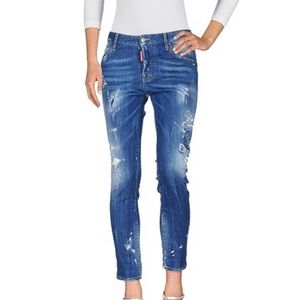 DSQuared2 Distressed Skinny Ankle Crop Jeans